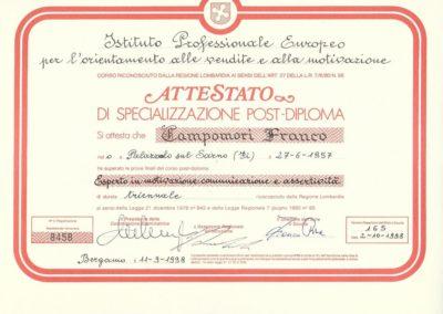Franco Campomori Specializzazione post-diploma | Regione Lombardia