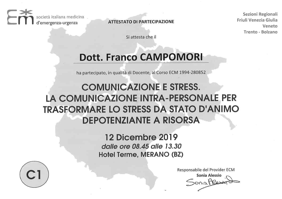 certificato partecipazione società italiana medicina emergenza